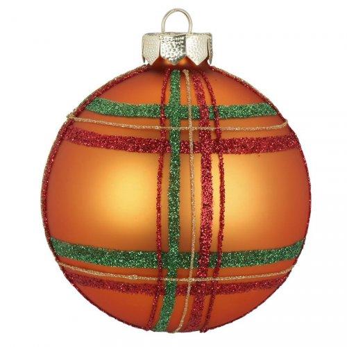Palla di Natale Tartan Arancione (8 cm) - Vetro