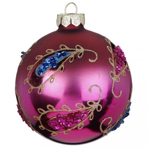 Palla di Natale Bohème Rosa (8 cm) - Vetro