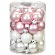 28 Mini palle Harmonie Rosa ghiaccio (3 cm) - Vetro