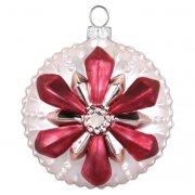 Palla di Natale Fiocco di neve con Fiore Rosa Bijou (8 cm) - Vetro
