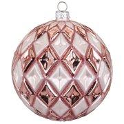 Palla di Natale a Rombi Rosa Bijou (10 cm) - Vetro