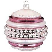 Maxi Palla di Natale con Perle Rosa Bijou (10 cm) - Vetro