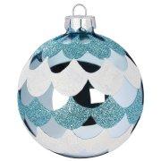 Palla di Natale Blu Smerigliato N°2 (8 cm) - Vetro