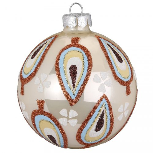 Palla di Natale Beige Birdy (8 cm) - Vetro