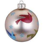 Palla di Natale Uccellini Beige Birdy (8 cm) - Vetro