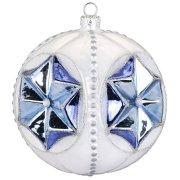 Maxi Palla di Natale con Stelle Blu Bijou (10 cm) - Vetro