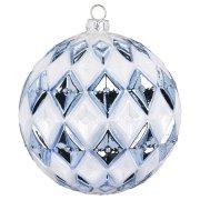 Maxi Palla di Natale a Rombi Blu Bijou (10 cm) - Vetro