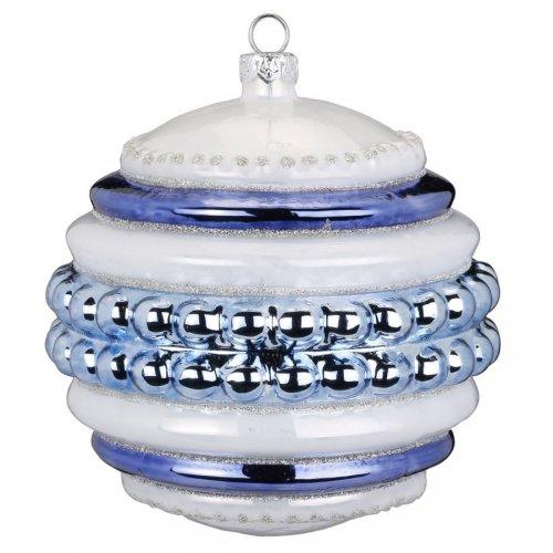 Maxi Palla di Natale con Perle Blu Bijou (10 cm) - Vetro