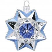 Palla di Natale con Stelle Blu Bijou (8 cm) - Vetro