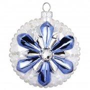 Palla di Natale Fiocco di Neve con Fiore Blu Bijou (8 cm) - Vetro