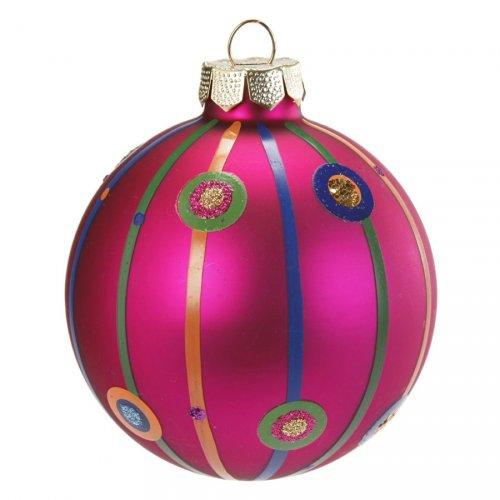 Palla di Natale Fantasia Rosa N°2 (6 cm) - Vetro