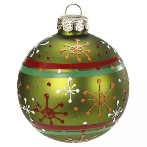 Palla di Natale Fantasia Verde N°3 (6 cm) - Vetro