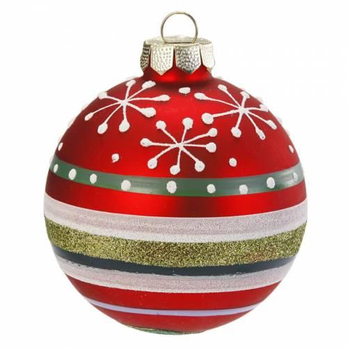 Palla di Natale Fiocchi di Neve e Righe Fun (6 cm) - Vetro