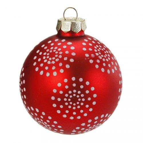 Palla di Natale Fiocchi di Neve e Pois Fun (6 cm) - Vetro
