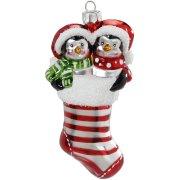 Addobbo Natalizio Calza di Natale con Pinguini (12 cm) - Vetro