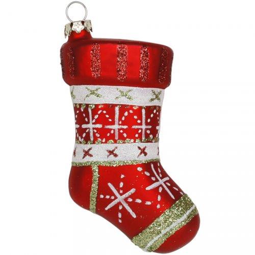 Addobbo Natalizio Calza di Natale con Fiocchi di Neve (10 cm) - Vetro