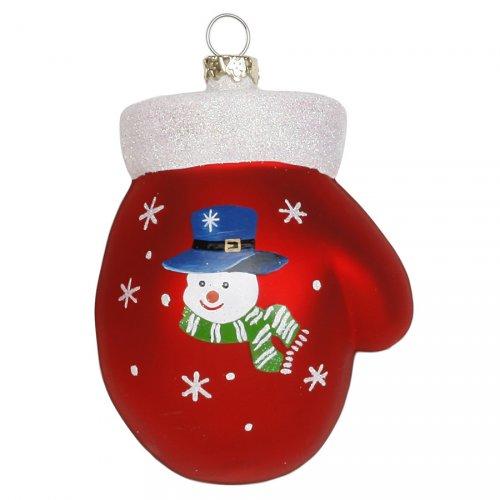 Addobbo Natalizio Guanto con Pupazzo di Neve (8 cm) - Vetro