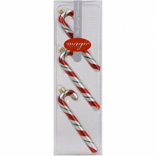 3 Addobbi Natalizi Bastoncini di Zucchero (12 cm) - Vetro