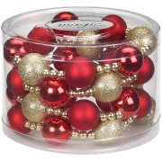 Festone Perle e Palline Rosso/Oro (175 cm) - Plastica