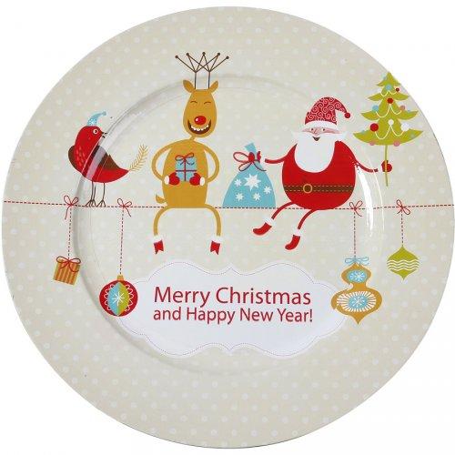 Maxi Piatto Natale divertente (33 cm) - Plastica