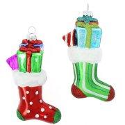 2 Addobbi Natalizi Calze di Natale a Pois/Righe (11 cm) - Vetro