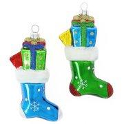 2 Addobbi Natalizi Calze di Natale con Fiocchi di Neve (11 cm) - Vetro