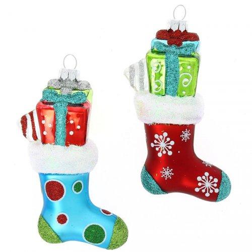 2 Addobbi Natalizi Calze di Natale à Pois/Fiocchi di Neve (11 cm) - Vetro