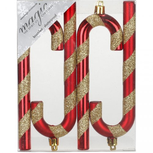 4 Addobbi Natalizi Bastoncini di Zucchero Rosso/Oro (14 cm) - Plastica