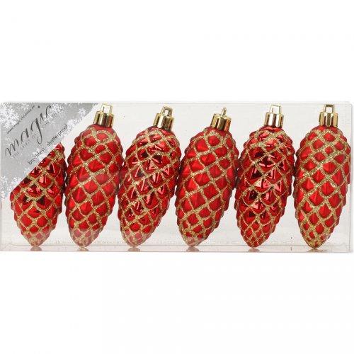 6 Addobbi Natalizi Pigne Rosso/Oro (7,5 cm) - Plastica