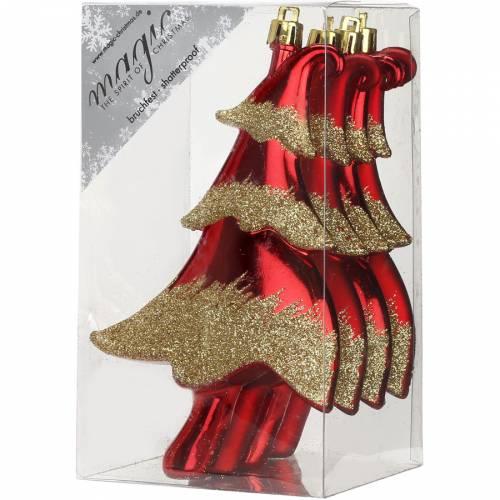 4 Addobbi Natalizi Albero di Natale Rosso/Oro (14 cm) - Plastica