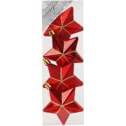 4 Addobbi Natalizi Stelle 3D Rosso/Oro (7,5 cm) - Plastica