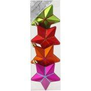 4 Addobbi Natalizi Stelle 3D Multicolore (7,5 cm) - Plastica