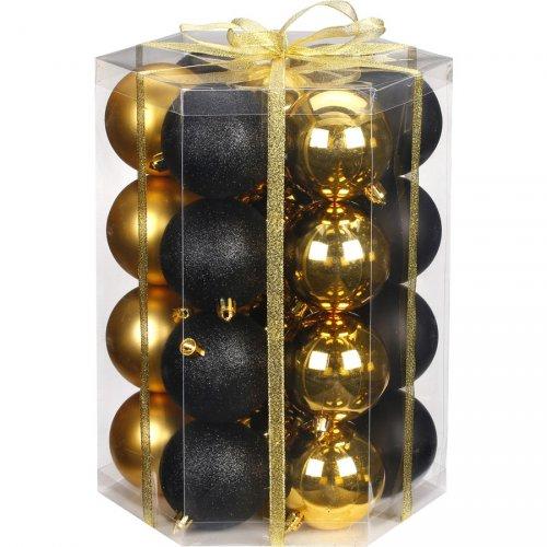 28 Palle di Natale Nere e Dorate (7 cm) - Vetro