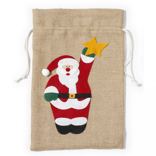 Gift Bag Babbo Natale (31 cm) - Tela Ruvida e Feltro