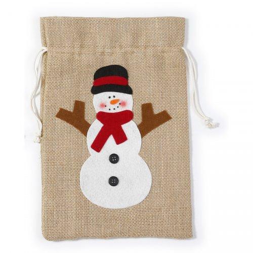 Gift Bag Pupazzo di Neve (31 cm) - Tela Ruvida e Feltro