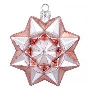 Palla di Natale Stella Rosa Bijou (8 cm) - Vetro