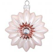 Palla di Natale Sole Rosa Bijou (8 cm) - Vetro