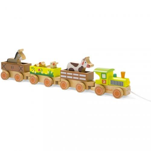Trenino con animali della fattoria (47 cm) - Legno