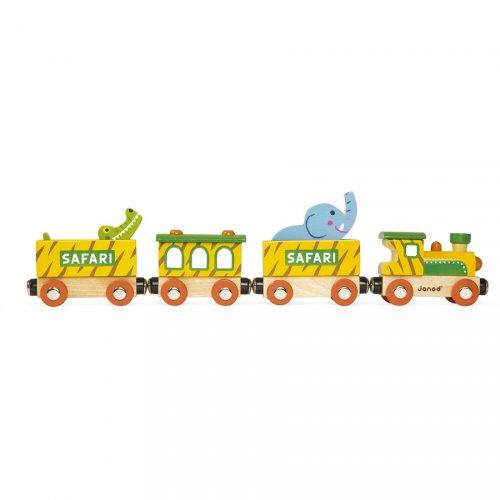 Trenino con animali della savana (31,5 cm) - Legno