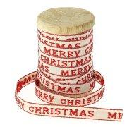 Nastro Cotone Beige e Rosso Marry Christmas N°5