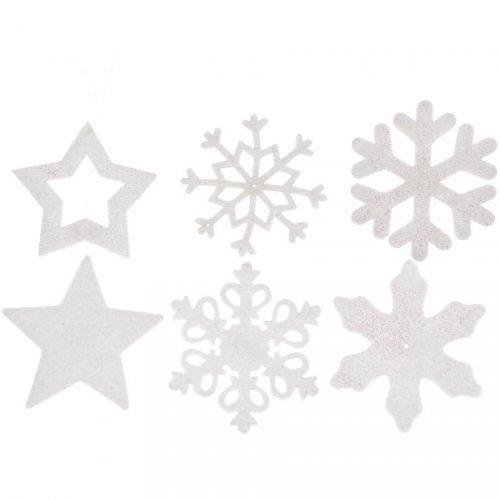 6 Addobbi Natalizi Stelle e Fiocchi di Neve Glitterati