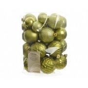 Assortimento 38 Palle di Natale Verde Oliva