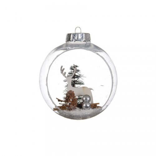 2 Palle di Neve Aperte Renna (10 cm) - Plastica