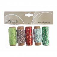5 Nastri Decorativi Natalizi Verde/Rosso - Tessuto e Cordoncino