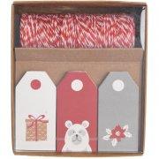 Kit Etichette regalo rosse/bianche/grigie
