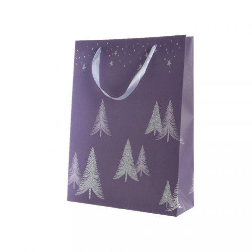 Gift Bag Grande Alberi di Natale Lilla (42 cm)