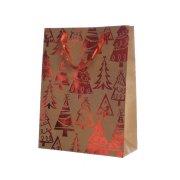 Gift Bag Grande Alberi di Natale Rossi/Carta Grezza (42 cm)
