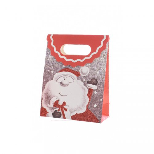 Gift Bag Piccola Babbo Natale Felice Glitterato (16 cm)