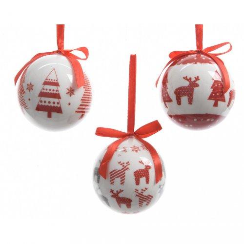 7 Palle di Natale Renna e Albero di Natale (7,5 cm) + Confezione