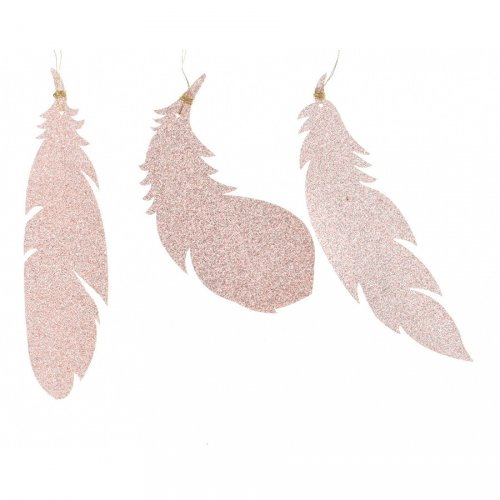 6 Addobbi Natalizi Piume Rosa Glitterate (12,5 cm) - Plastica